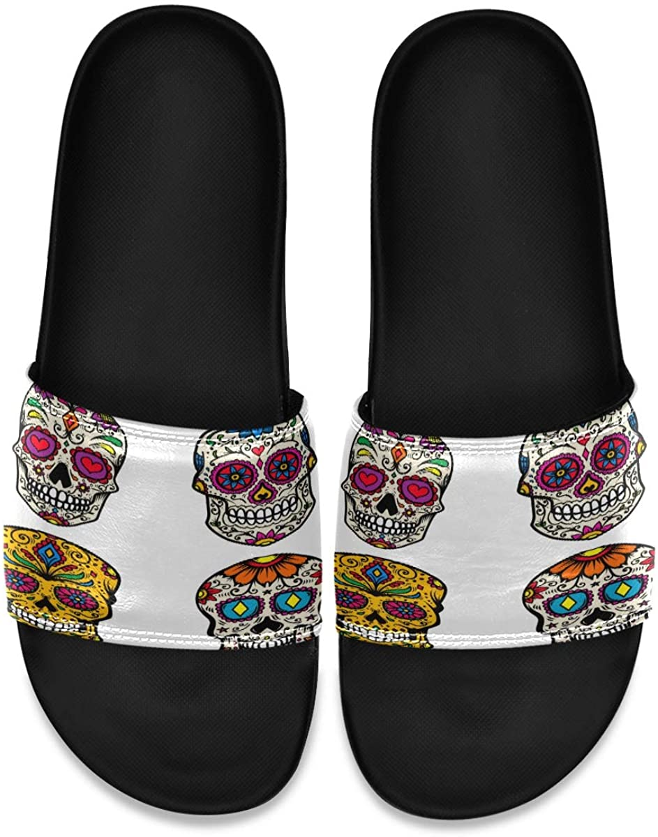Colorful Sugar Skull Floral Flowers Mens Slippers Leather Slide Sandals House Summer Beach Comfort