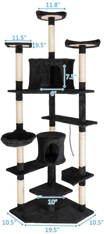 Arichtops 80-inch Solid Cute Sisal Rope Plush Pet Climbing Tree Pets Tower Black Pet Pleasing Supplies