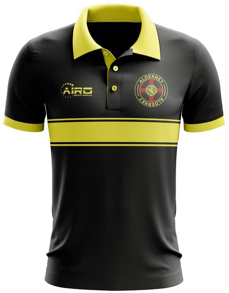 Airosportswear Alderney Concept Stripe Polo Football Soccer T-Shirt Jersey (Black) - Kids