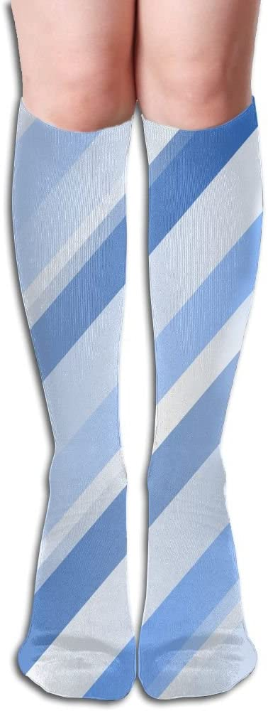 KLQ Blue And White Stripes Knee High Crew Socks Knee High Stockings For Indoor And Outdoor Sports
