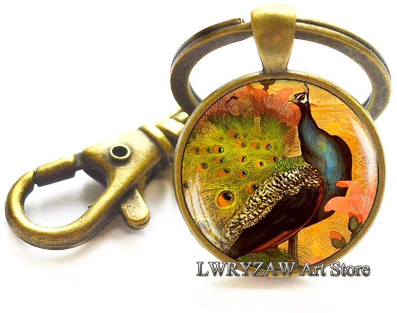 Peacock Keychain, Victorian Style Peacock Jewelry, Glass Art Key Ring, Peacock Art Key Ring,M11
