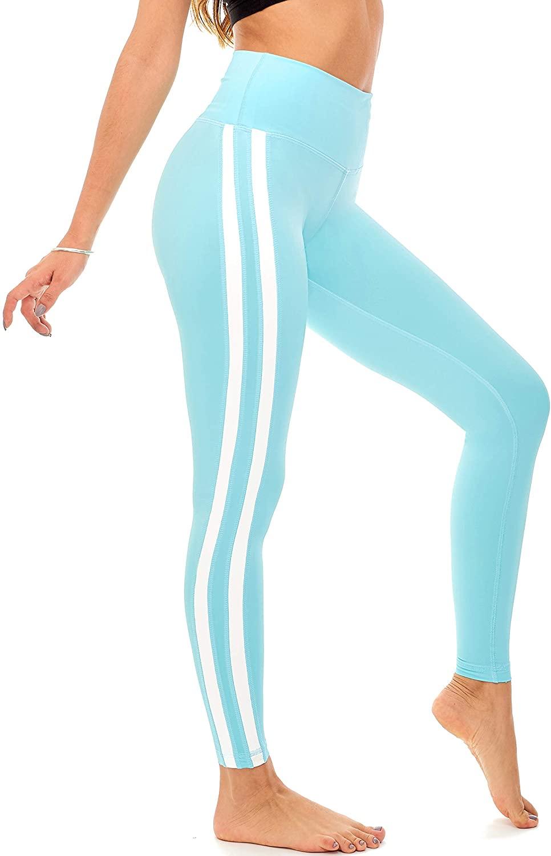 DEAR SPARKLE High Waist Yoga Pants for Women Striped Workout Leggings with Pockets Slim Legging Plus Size (Z4)