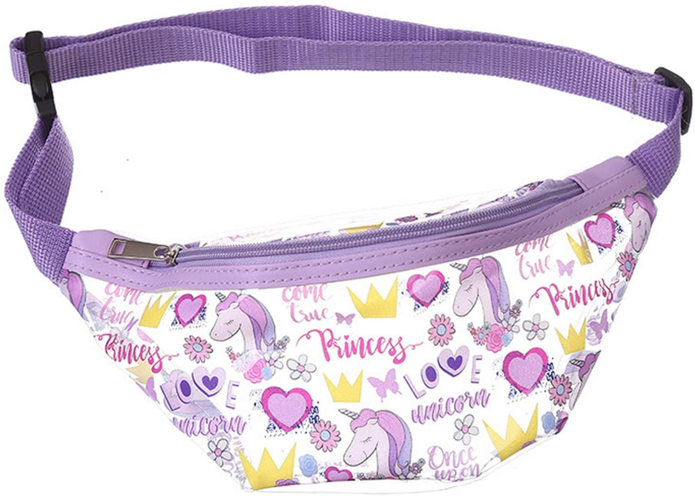 OMLEE Unicorn Sport Waist Bag, Fanny Packs for Girls Women, Transparent PVC Waist Pouch Belt Bag for Walking Running Stadium Concerts