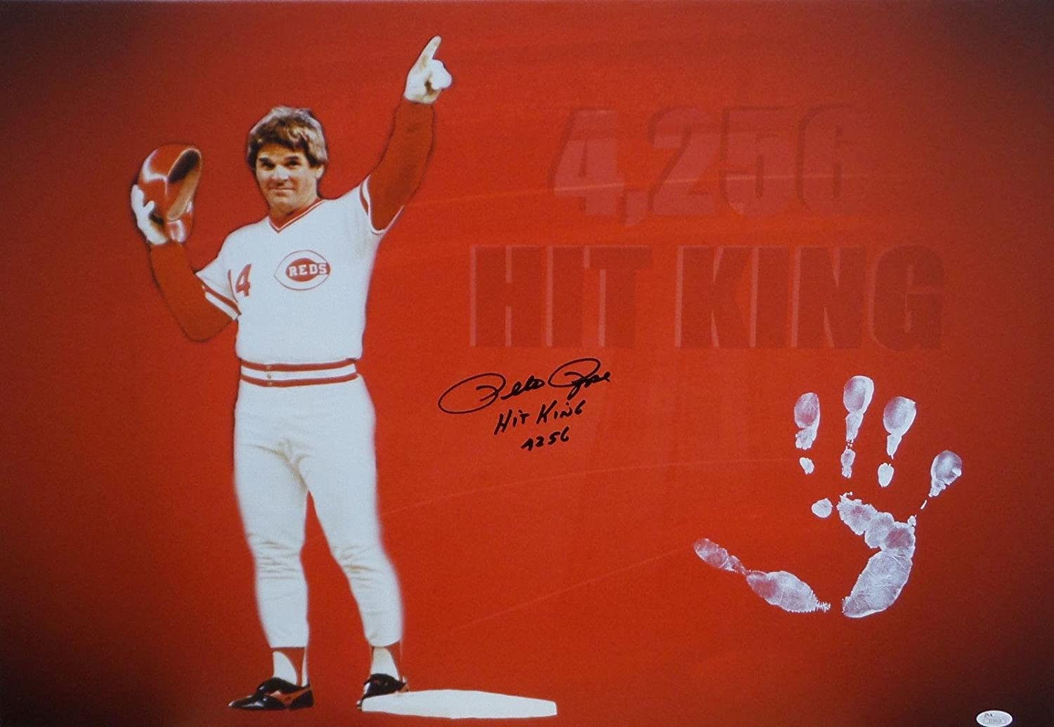 Pete Rose Hand Print Unstretched Canvas Record Breaker Signed Authenticad - JSA Certified - Autographed MLB Art