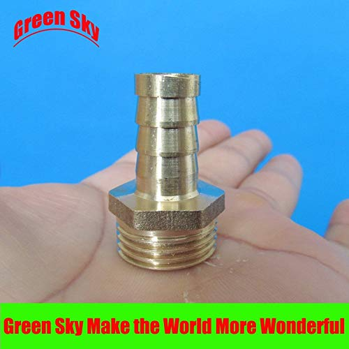 Xucus 12mm Hose Barb Tail to 1/2PT BSP Male Thread Straight Barbed Brass Connector Joint Hose Barb Fitting