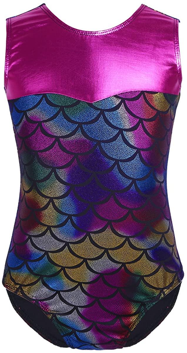 zdhoor Kids Girls Metallic Sleeveless Ballet Dance Leotard Mermaid Printed Gymnastics Outfits Dancewear Bodysuit