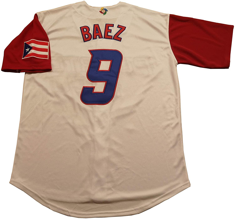 Kooy Lindor #12 Baez #9 Molina #4 Correa #1 Beltran #15 Puerto Rico World Classic Baseball Jersey Men Adult