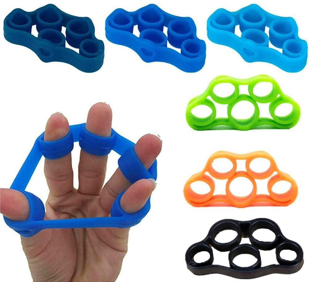 LWestine Set of 7 Finger Stretcher Hand Power Training Finger Trainer Hand Grip Ring Extensor Resistance Bands Strength Exerciser for Climbing Guitar Bass Piano Violin Music Players