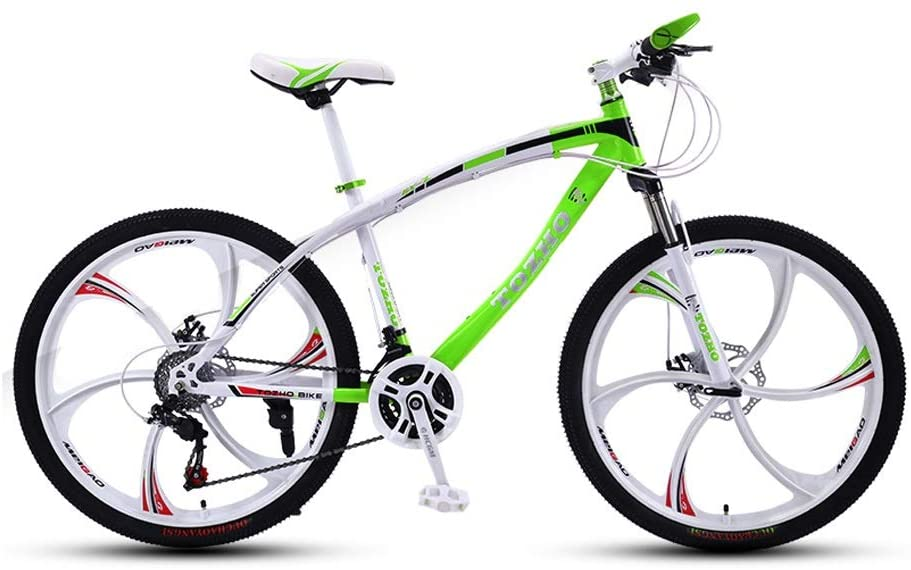 LRHD Mountain Bicycle, Adult 24 Speed Speed with 6 Cutter Wheel 24/26 Inch Travel Bicycle Men and Women MTB Bike Double Disc Brake High Carbon Steel Frame Outdoor Cycling (Green and White)