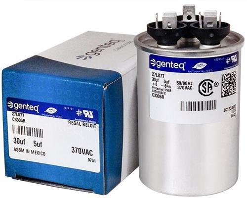 100335-02 - 30 + 5 uf MFD 370 Volt VAC - Lennox Round Dual Run Capacitor Upgrade