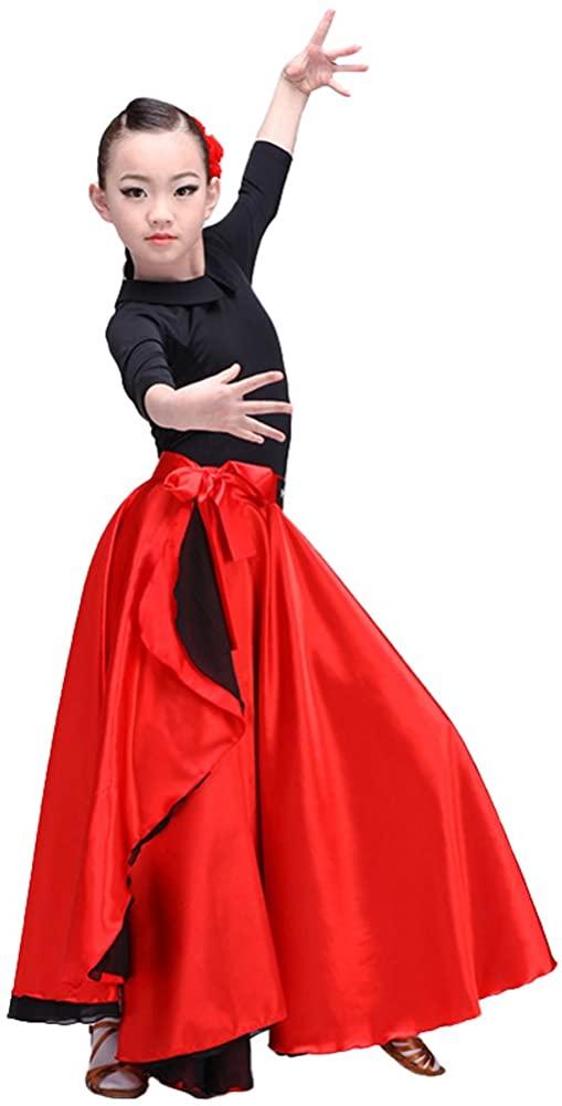 LOLANTA Spanish Flamenco Dance Skirt, 2 Layers Latin Ballroom Dancing Costume for Kids and Adults
