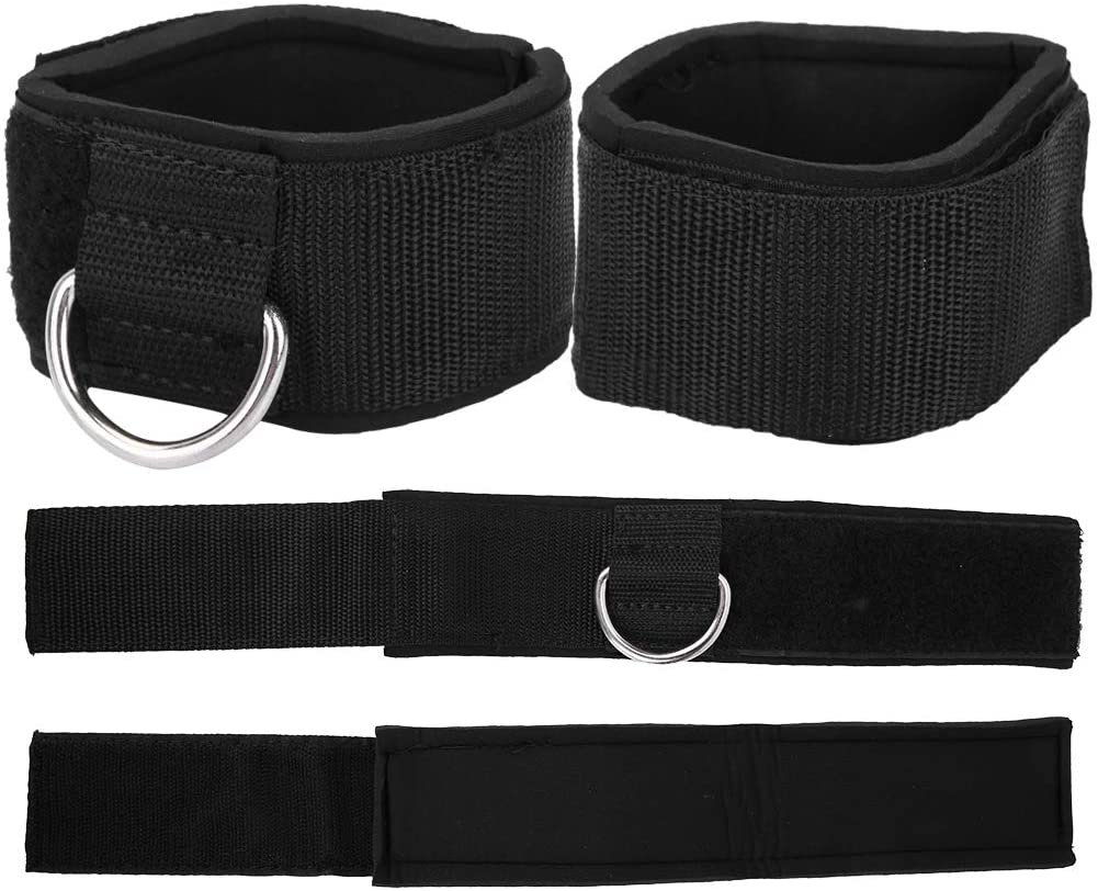 Yosoo 1 Pair Leg Ankle Strength Strap for Cable Machines,D-Ring Ankle Cuffs Padded Ankle Strap Wrap Support for Gym Training for Men and Women