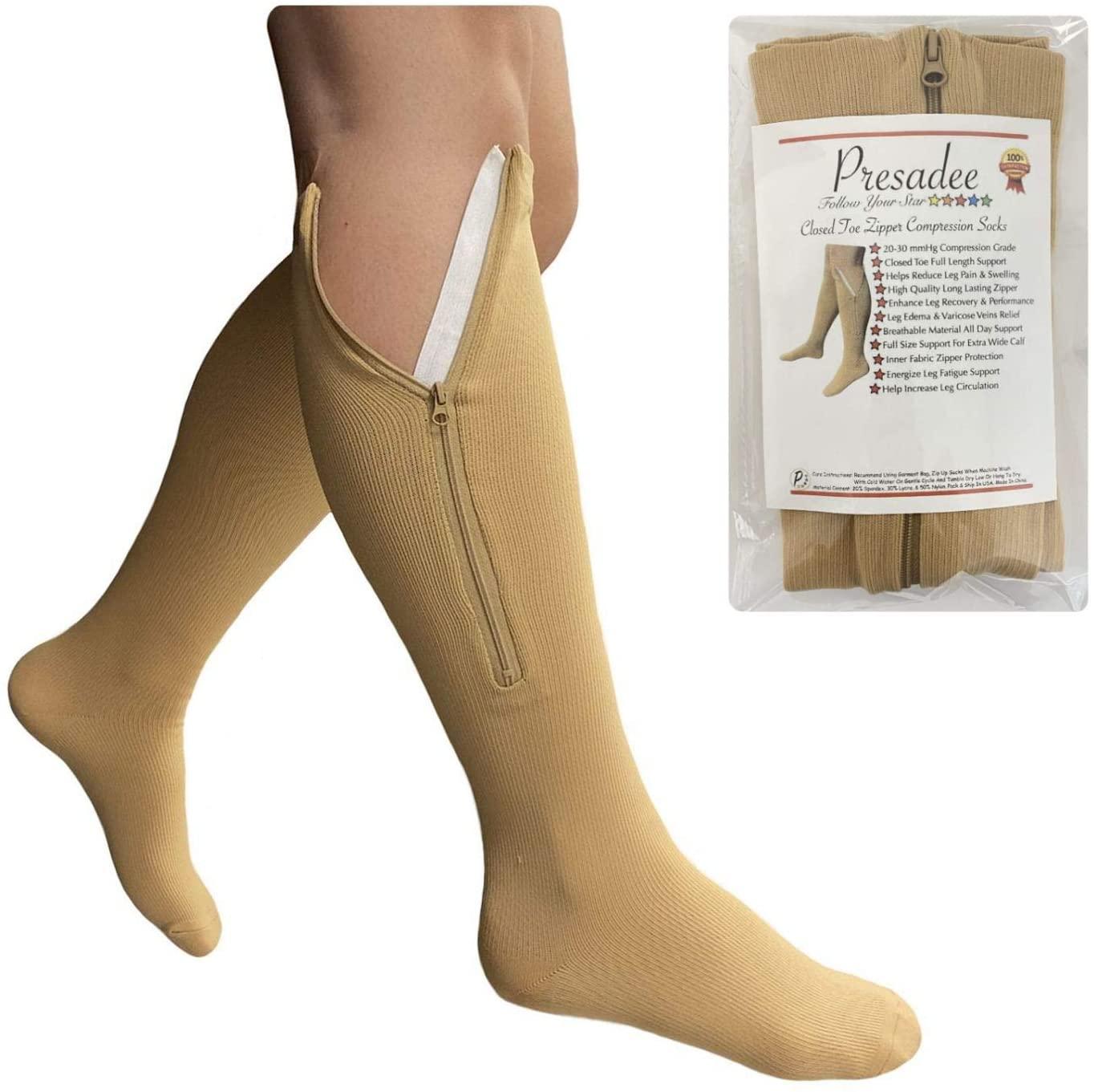 Presadee Original Closed Toe 20-30 mmHg Firm Compression Leg Calf Zipper Socks (Beige, 2X-Large)