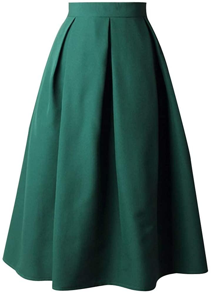 Sharemen Women's High Waisted A Line Street Skirt Skater Pleated Full Midi Skirt