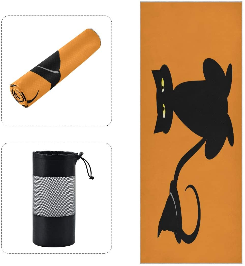 Black Halloween Cat with Witch Hat Pumpkin Yoga Towels for Hot Yoga Non Slip Long Skidless with Grips Dots for Sweat