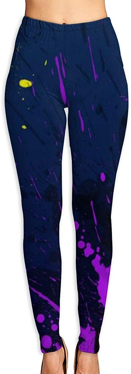 AUISS Womens Yoga Pants Leggings Yellow Purple Face Running Workout Capris Long Trousers Athletic Gym