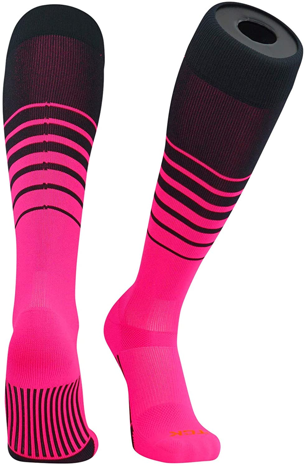 TCK Elite Breaker Fade Lines Knee High Socks Black, Hot Pink