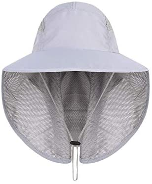 Auch Adjustable Quick-Drying Outdoor Large Brim/Visor/Boonie Beach Sun Hat Fishing Hat with Net Protection Unisex