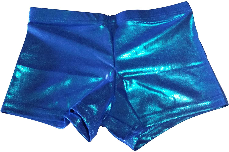 PUSH ATHLETIC Girls Super Comfort Dance Shorts (Adult Medium, Blue Sparkle)