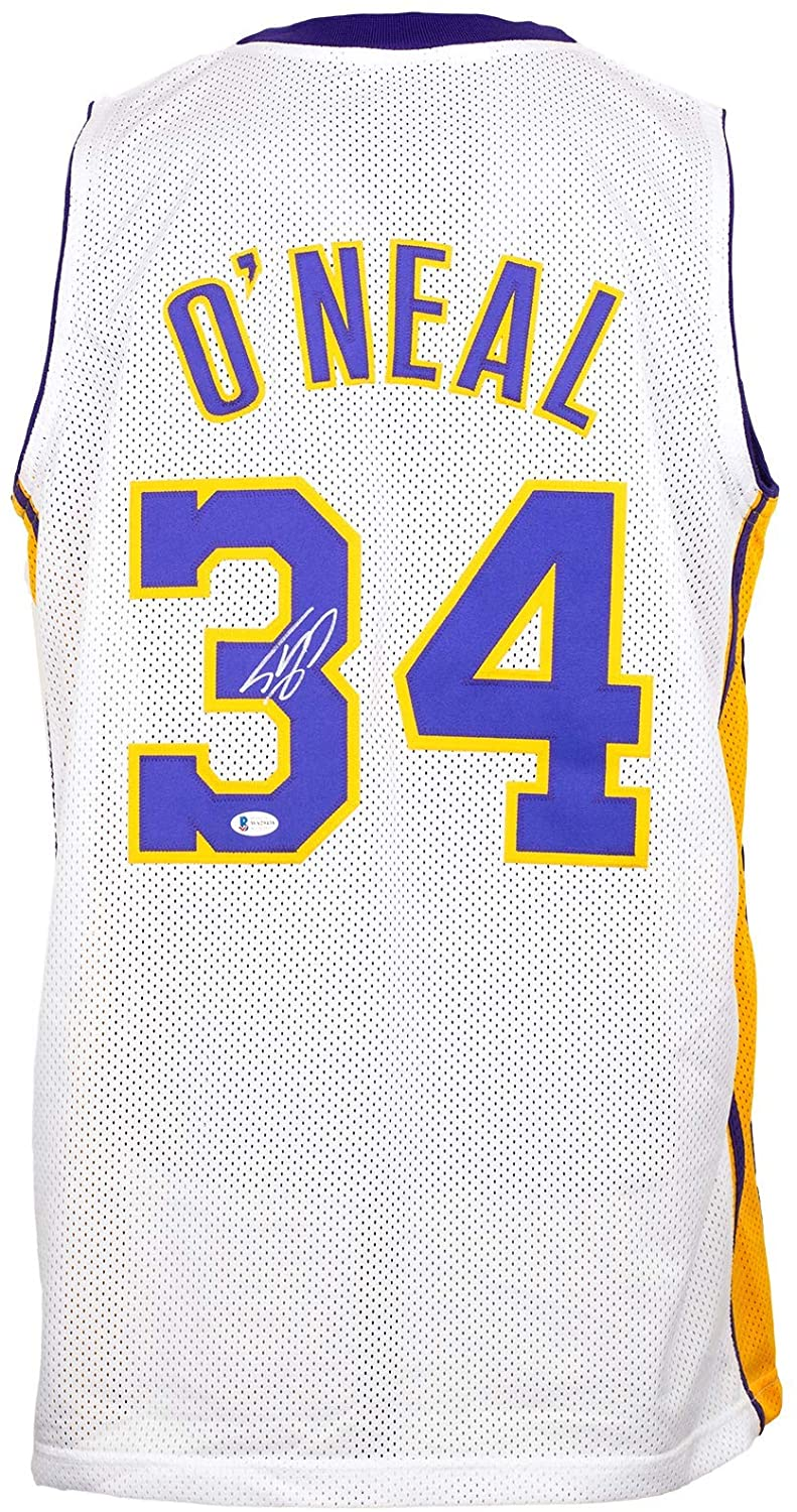 Shaquille O'Neal Signed Custom White Pro-Style Basketball Jersey w/Kobe 24 Patch BAS
