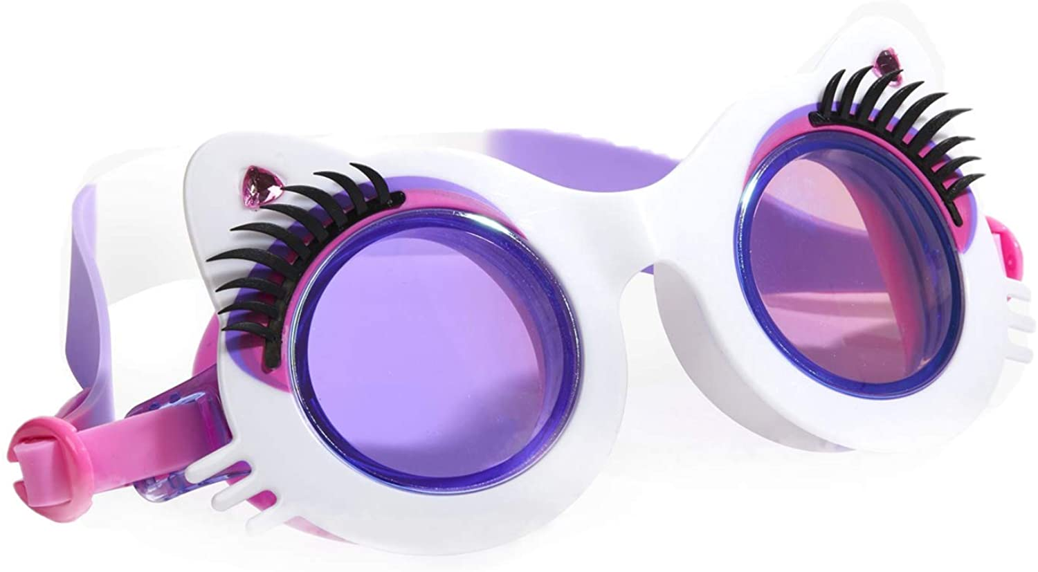 Bling 2O Kids Swimming Goggles - Cat Whisker and Eyelash Goggles for Girls - Ages 8+ - Anti Fog, No Leak, Non Slip, UV Protection - Hard Travel Case - Lead & Latex Free (Pawdry Hepburn Whiskers White)