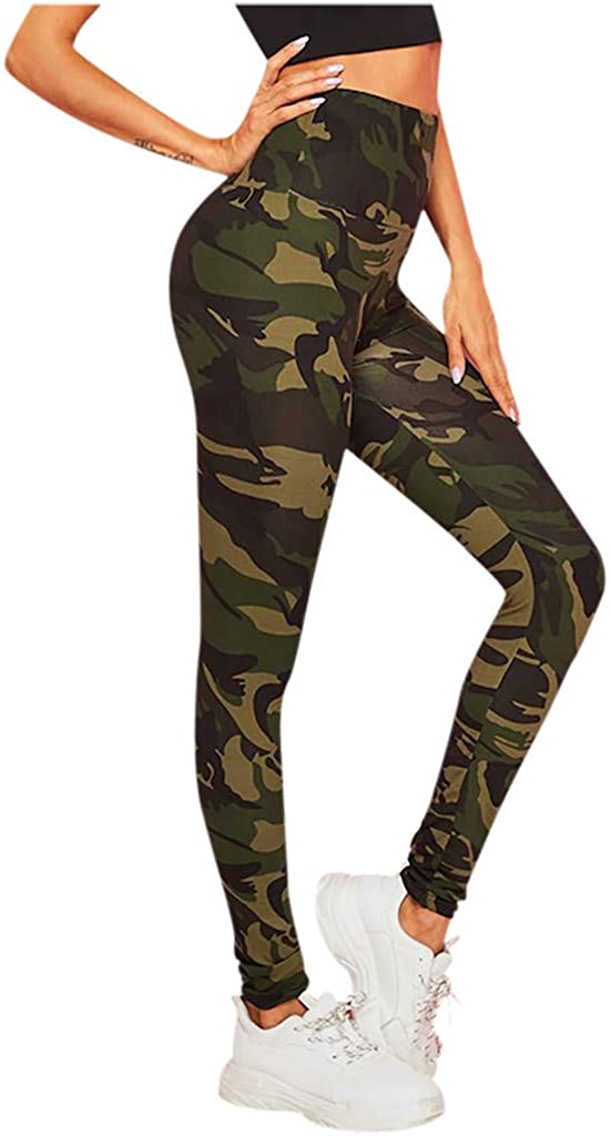 Workout Leggings for Women,High Waist Yoga Pants Camouflage Printed Tummy Control Workout RunningStretch Leggings