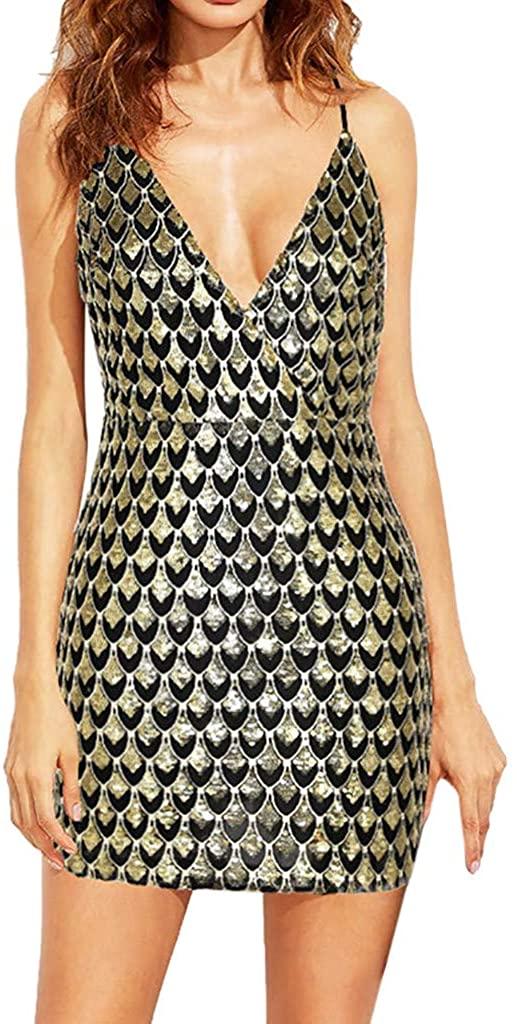 HTHJSCO Women's Sexy Backless Deep V Dress, Ladies Solid Sleeveless Shining Mini Dress Sequin