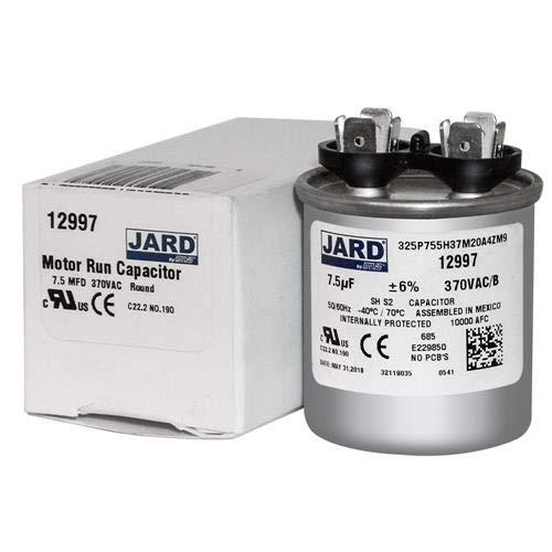 Jard 12997-7.5 uF MFD x 370 VAC Replaces Genteq Capacitor Round # C307R 97F9204