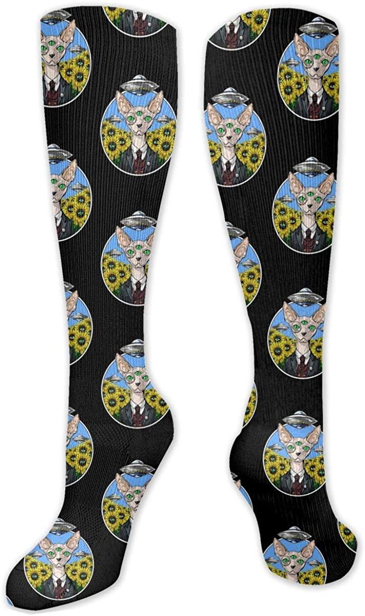 Knee High Socks For Men Women Alien Abduction Sphynx Cat Yoga Hose Stockings