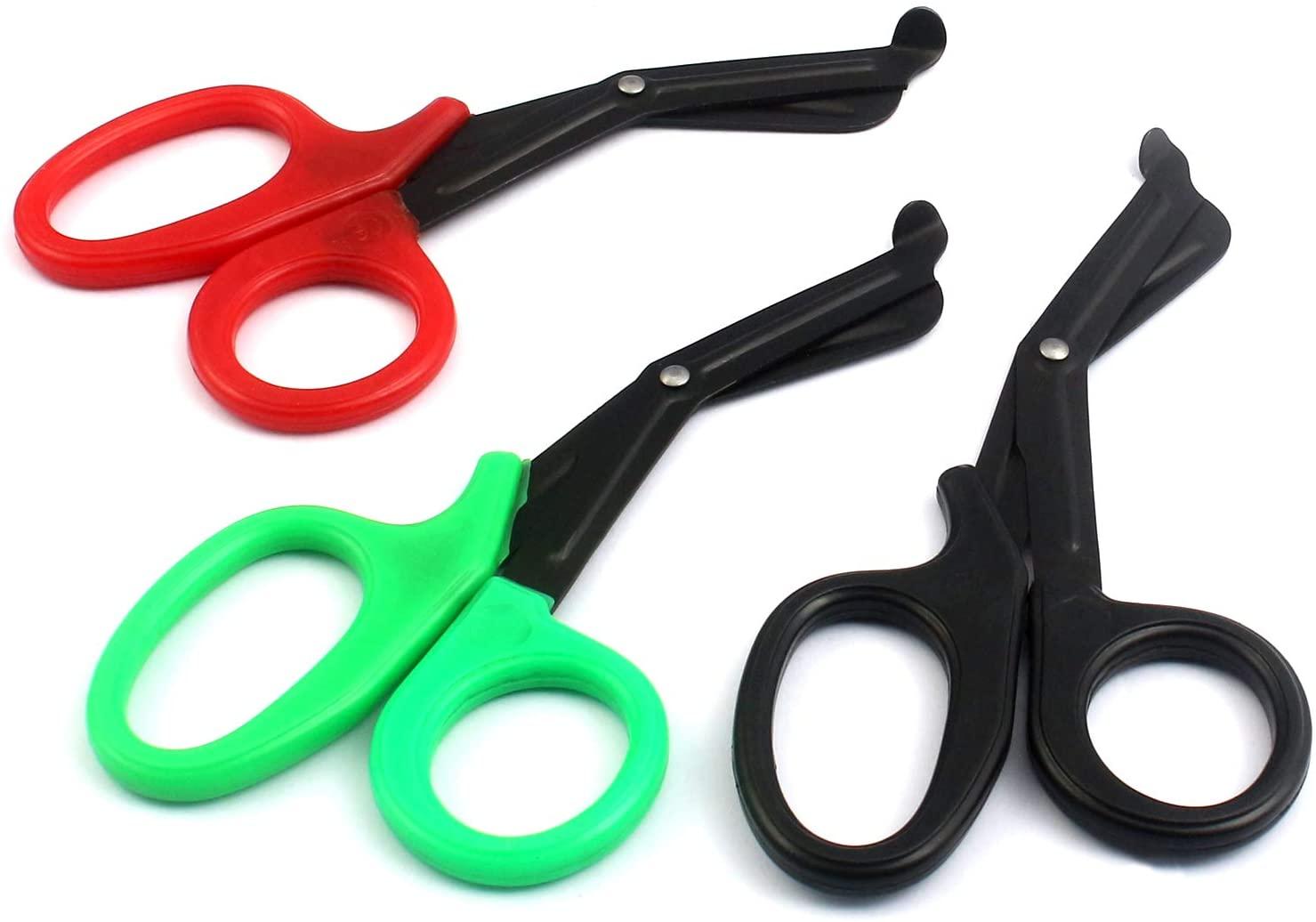 OdontoMed2011® 3 Pieces Fluoride Coated Blade Utility Scissors 7.25 EMT Paramedic Nurse Scissor Bandage Doctor First Aid (Black + Green + Red) 7 1/4 EMT Utility Shears Scissors