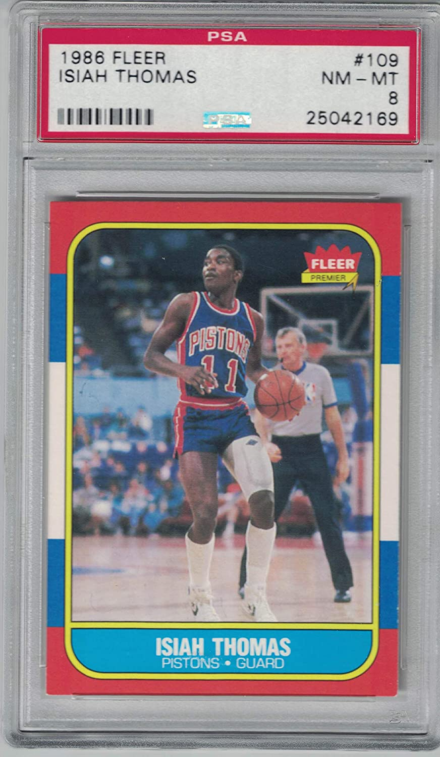 PSA NM-MT 8 1986 Fleer Isiah Thomas Rookie Card