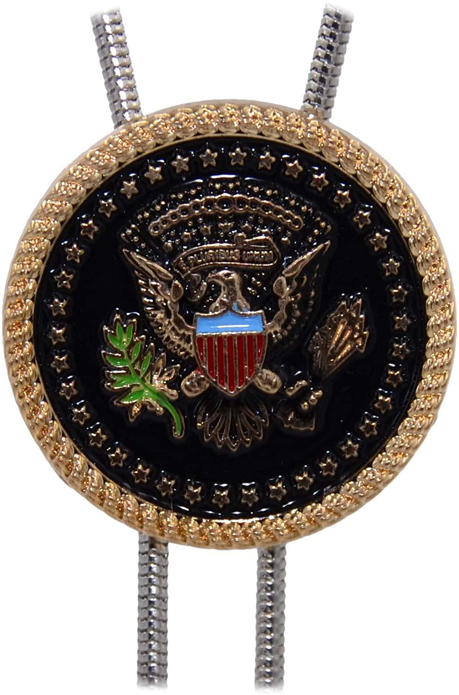Kissvian West Vintage Alloy Bolo Tie & Badge Metal-Pin Dual Purpose Bola Tie Emblem