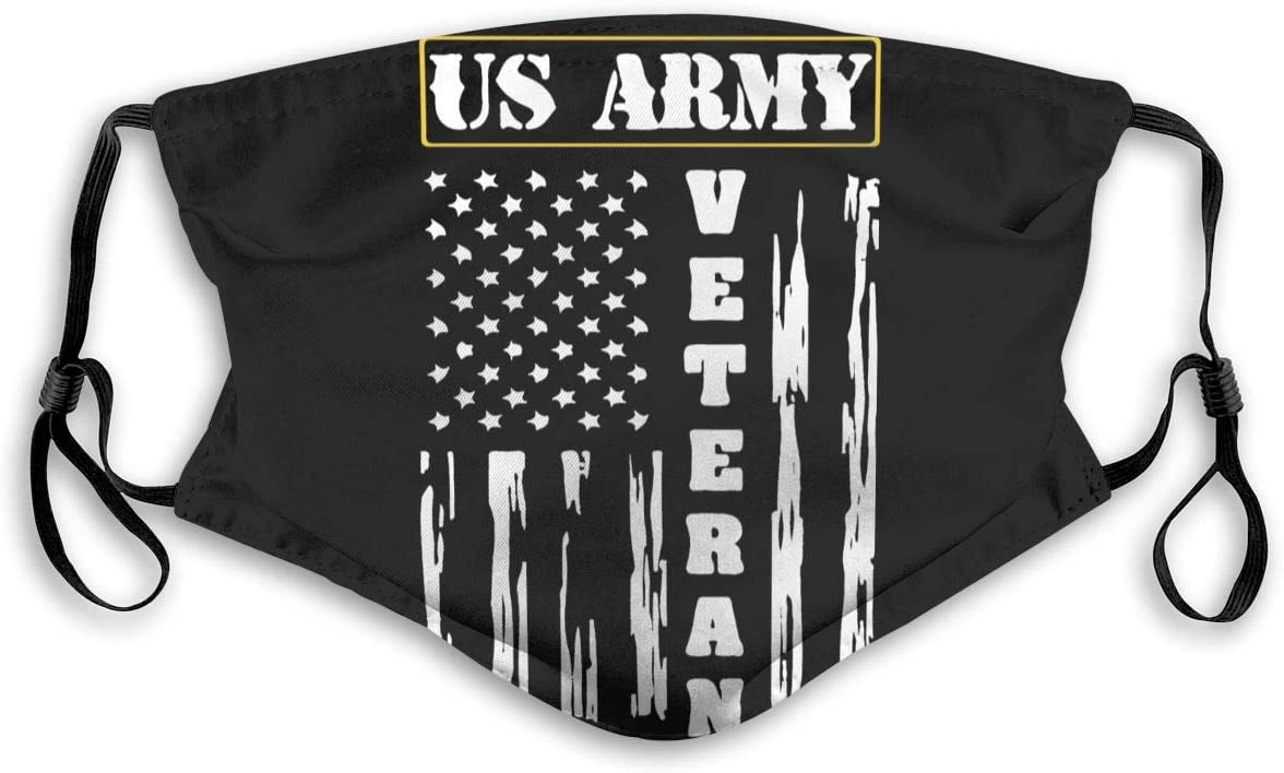POYOMUK US Army Veteran - Distressed American Flag Face Bandana Men Women 5-Layer Activated Carbon Filters Breathable Scarf Reusable