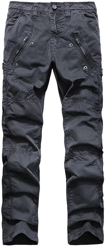 PUNKDBOTTO Multi-Pocket Men's Military Cargo Pants Loose Army Joggers Pants Tactical Casual Long Trousers