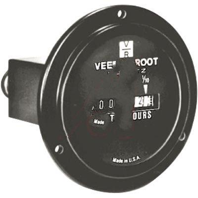 Veeder-Root 0779555-216, Meter, Hour; 5 Digit, 9999.9 hr; 10 to 32 VDC; Spade; 2 in. Dia; Panel; 0.02