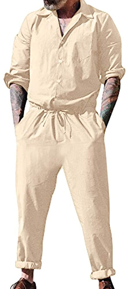 Leewa Jumpsuit Men Casual Work Overalls Solid Color Button Suit Casual Gymnastic Suit Overalls with Pockets