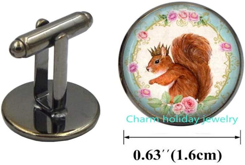 Squirrel Cufflinks Squirrel Cuff Links Wearable Art Jewelry Animal Cufflinks l Squirrel Jewelry-#105