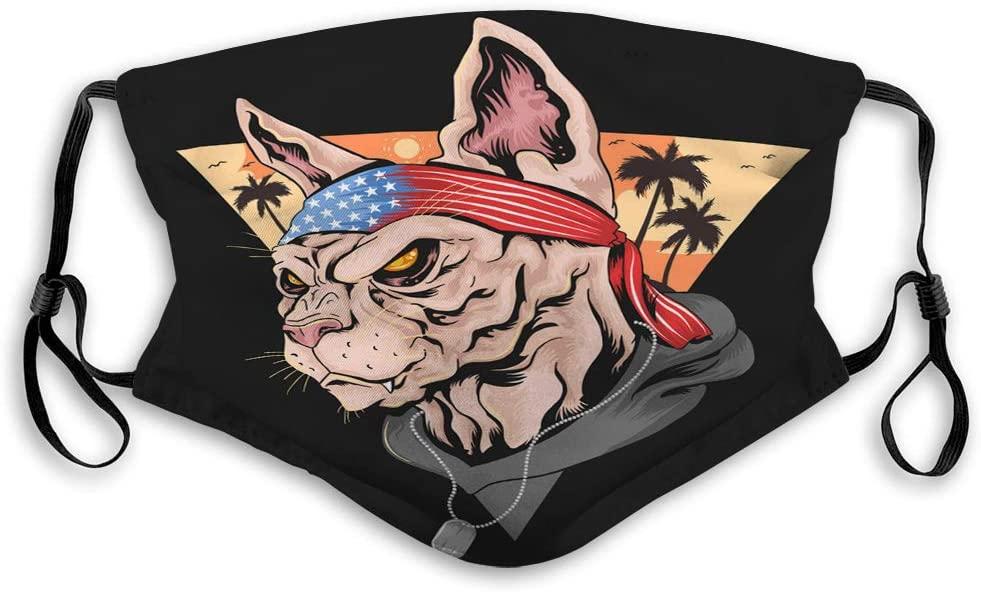 wuhandeshanbao Mask Reusable Unisex Adjustable Summer cat USA American Flag Patriot Printed Cover