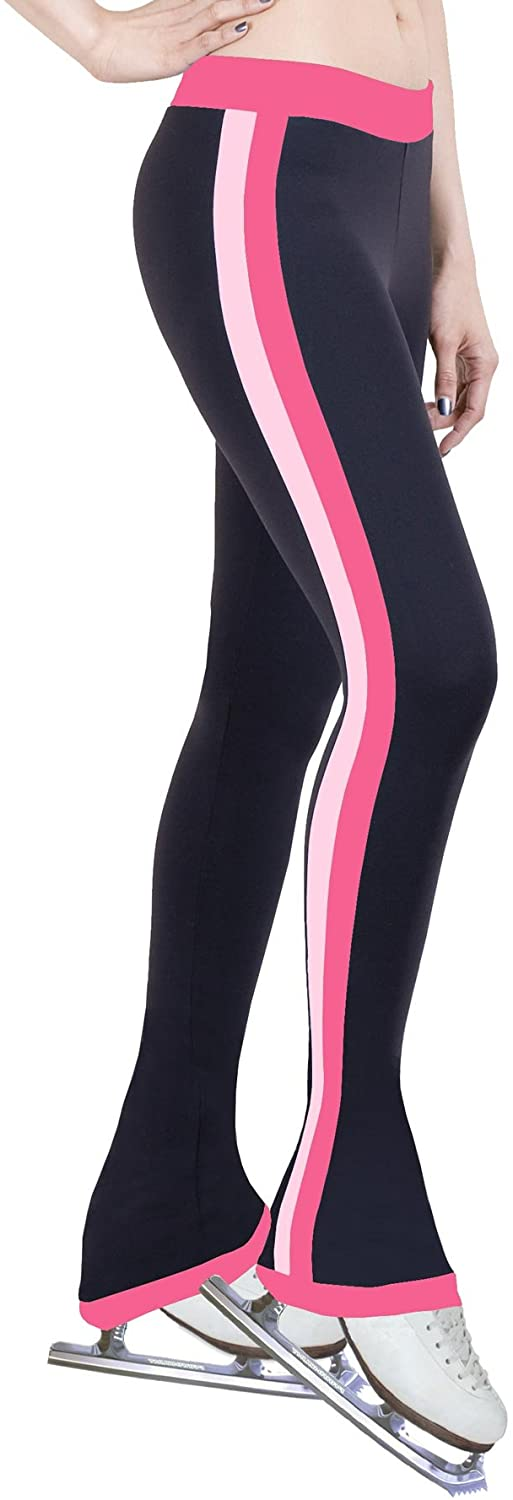 ny2 Sportswear Figure Skating Practice Pants with Side Stripe Bubble Gum/Two Tones