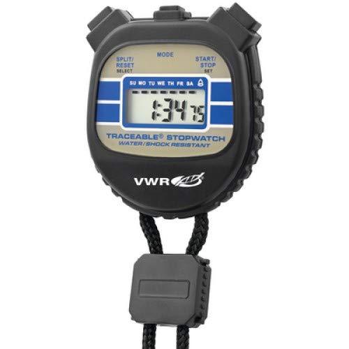 VWR 62379-460 Stopwatch, Water Resistant, Shock Resistant, Fluid_Ounces, Degree C, Plastic, (