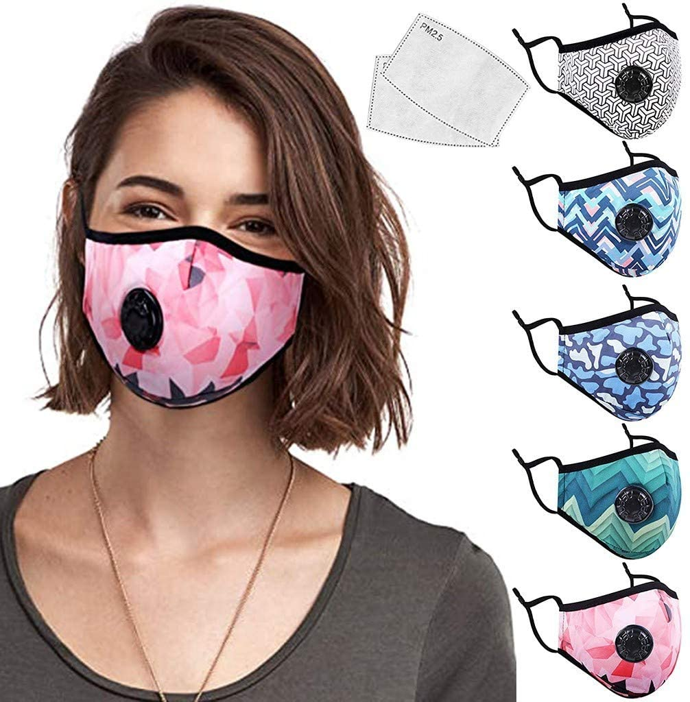 Unisex Washable Cotton Face Madks Reusable Half Face Bandanas with Breathing Valve &Replaceable Active Carbon Filters Protective Dust-proof and Anti-fog for Outdoor Sports (Multicolor,5PCS+10PCS)