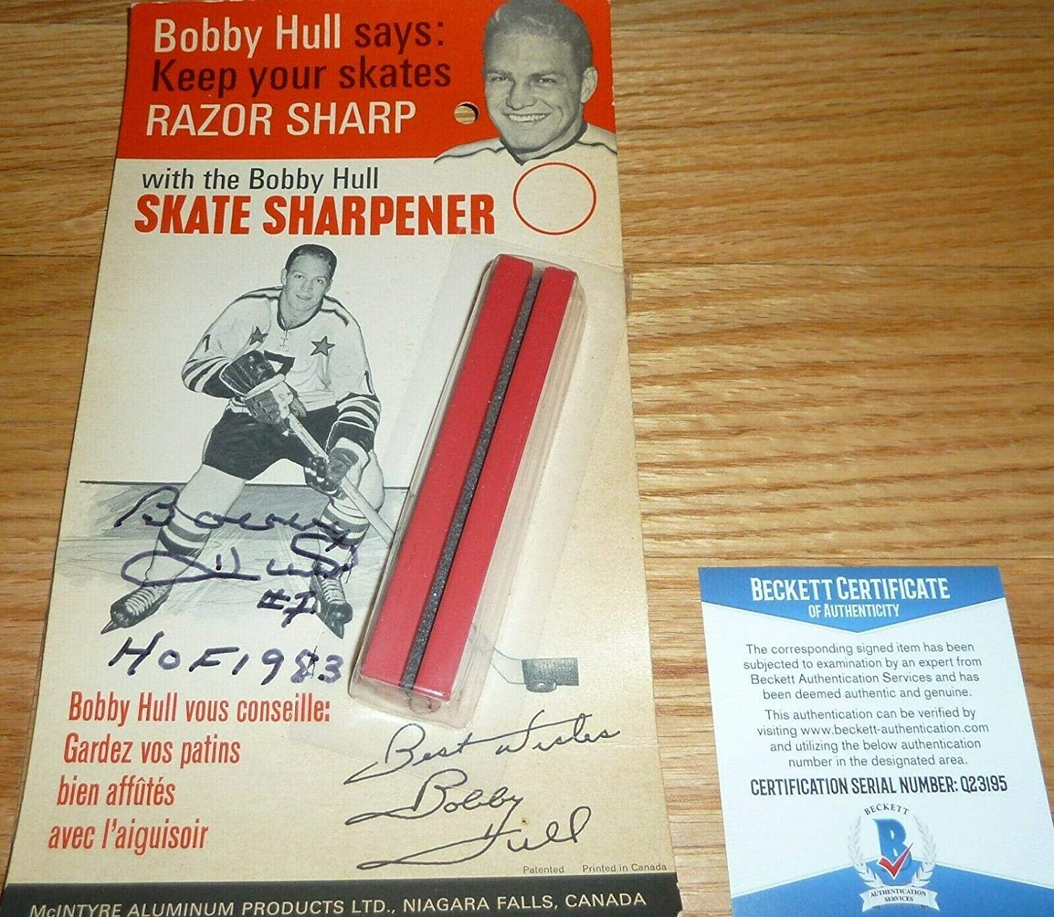 BECKETT-BAS BOBBY HULL AUTOGRAPHED-SIGNED VINTAGE 1960's SKATE SHARPENER NEW 195 - Beckett Authentication