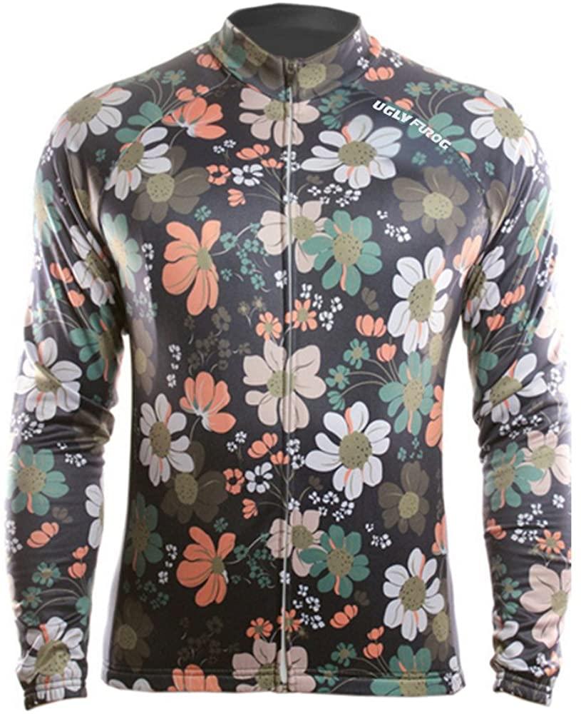 Uglyfrog Men's Full Zip Moisture Wicking Long Sleeve Cycling Jersey, Breathable Sports Wear Tops - Bike Biking Shirt