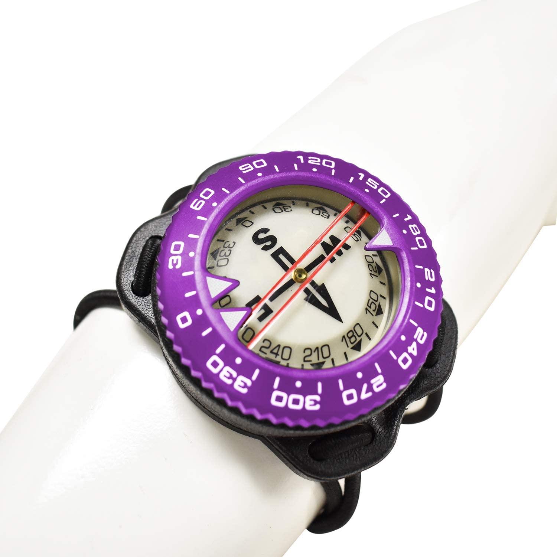 Scuba-Choice Diving Deluxe Aluminum Frame Bungee Mount Compass, Purple