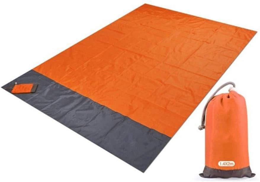 weizhang2x2.1m Waterproof Pocket Beach Blanket Folding Camping Mat Mattress Portable Lightweight Mat Outdoor Picnic Mat Sand Beach Mat 200x140cm Orange