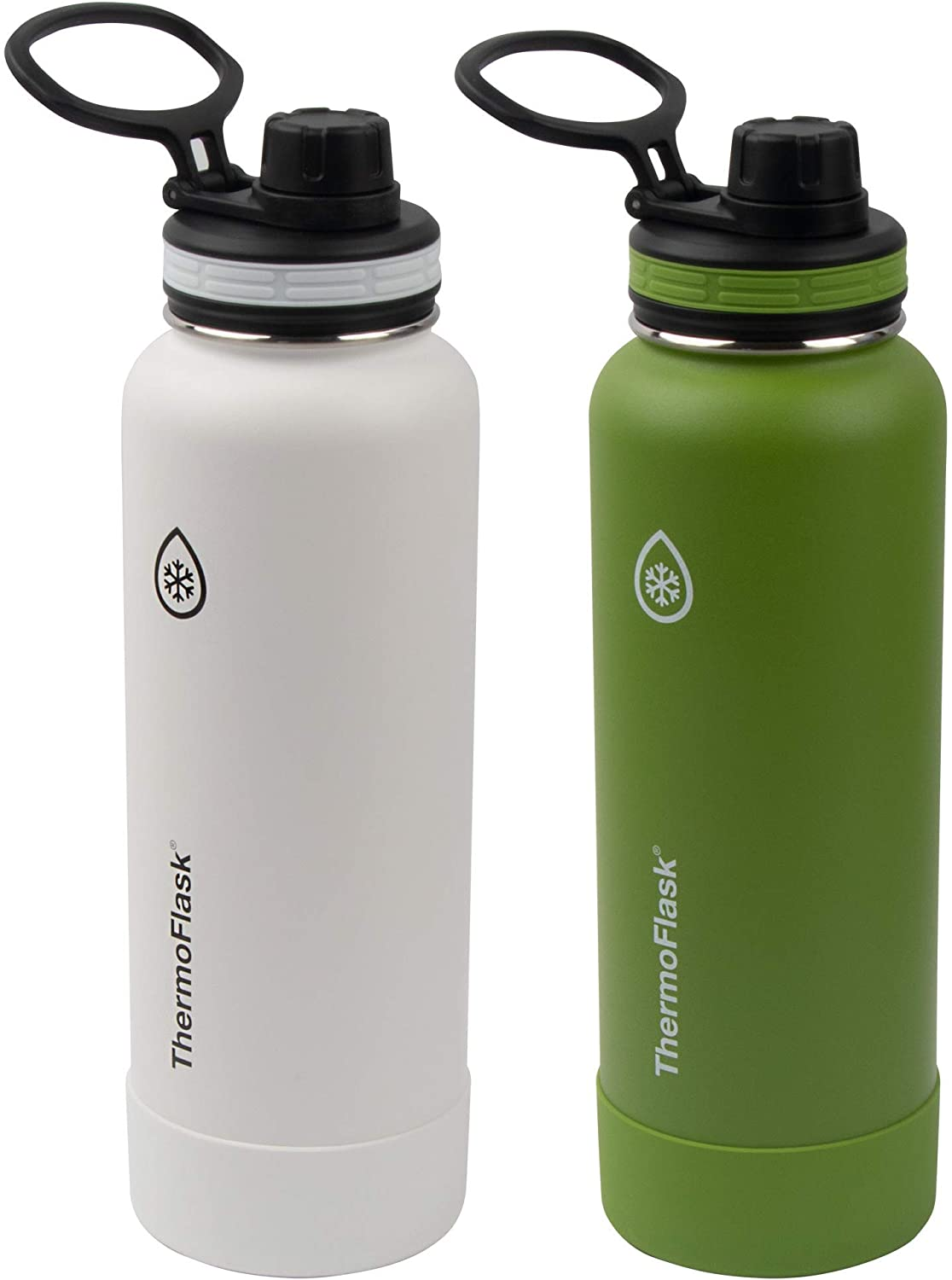 Thermoflask Double Wall Vacuum Insulated Stainless Steel Water Bottle 2-Pack, Arctic/Grasshopper
