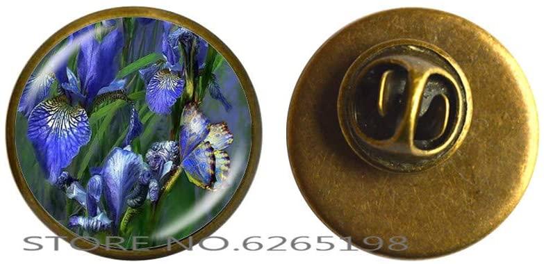 Handmade DIY Oil Painting Flower Brooch Cabochon Flower Painting Glass Cabochon Brooch Art Jewelry,N063