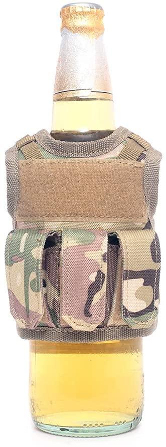 LIVIQILY Tactical Beer Vest Bottle Can Cooler Holder Military Molle Mini Miniature Beverage Bottle Handy Wine Bottles Can Holder Sleeve