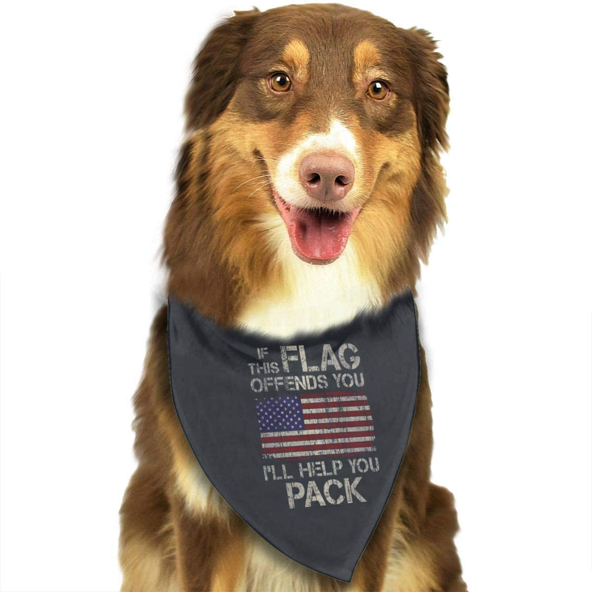 CHAN03 Dogs Bandana Collars If This Flag Offends You, I'll Help You Pack Pets Triangle Neckerchief Puppy Bibs Scarfs Cats Scarfs Towel