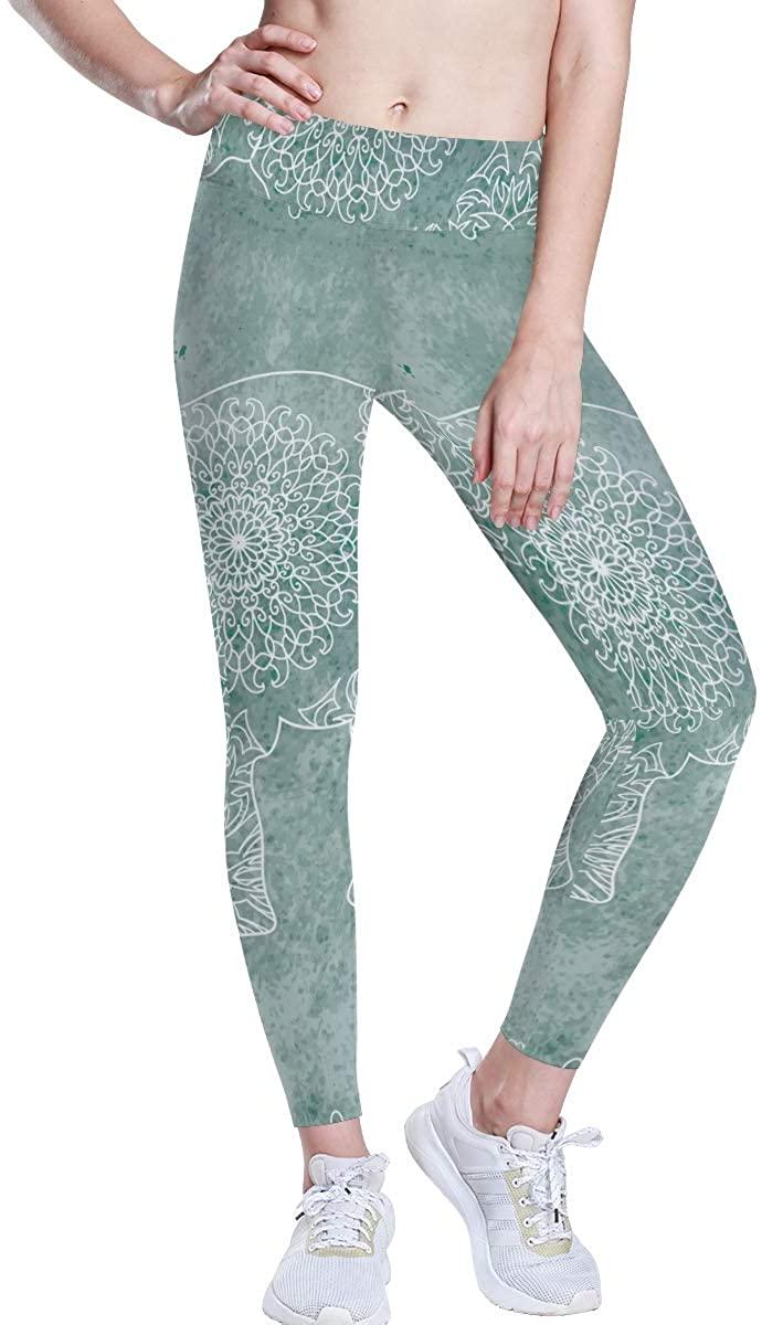 senya High Waist Yoga Leggings for Women, Breathable Women's Yoga Pants Elephant Mandala Workout Leggings Flex Running Tights